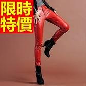 皮褲-時尚休閒彈力女長褲2色63u12[巴黎精品]