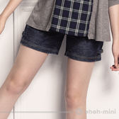 【ohoh-mini 孕婦裝】酷炫單寧扣環孕婦牛仔短褲