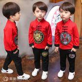 童裝 童裝兒童唐裝男童套裝禮服中國風古裝漢服男秋裝寶寶小孩民族服裝 【創時代3c館】