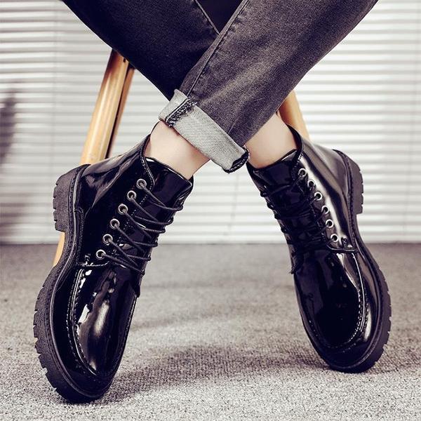 2021新款秋季男鞋韓版黑色工裝馬丁靴切爾西皮鞋英倫百搭高筒皮靴