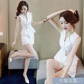 輕熟洋裝套裝白色氣質套裝女新款時尚小個子西裝職業兩件套洋氣減齡褲 快速出貨