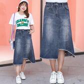 中大尺碼~不規則裙長牛仔裙(XL~4XL)