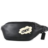 美國正品 COACH 漫威聯名男款 對話框荔枝紋拉鍊腰包-黑色【現貨】