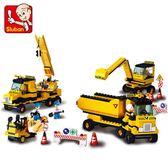 拼裝積木男孩拼插挖掘機玩具模型工程車類益智兒童5-10歲