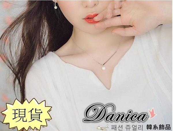 項鍊 現貨 韓國氣質甜美魅力簡約一字不對稱珍珠項鍊/鎖骨鍊(2色) K2460 Danica 韓系飾品 韓國連線