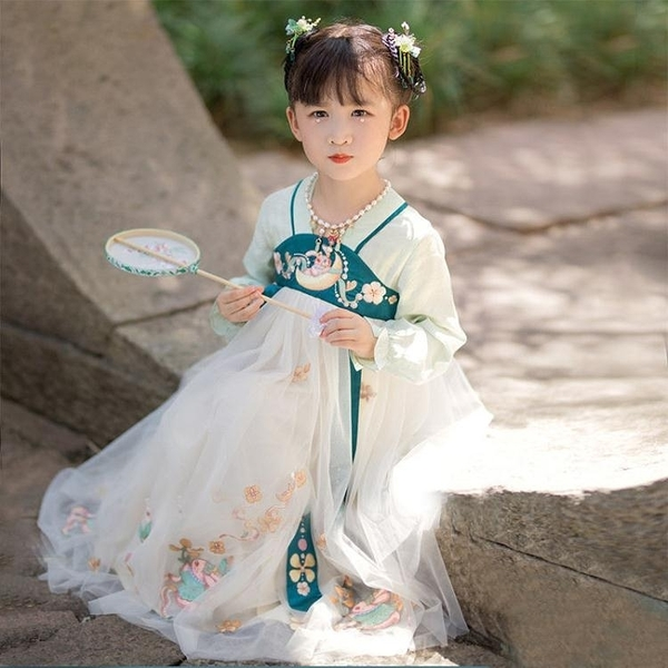 洋裝 女童漢服春秋超仙古裝中國風兒童公主裙洋氣小女孩洋裝連衣裙學生夏裝 快速出貨