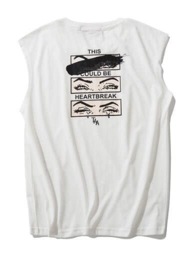 找到自己 MD 日系 潮 男 休閒簡約 寬鬆無袖 眼睛表情圖案 無袖T恤 無袖背心 圖案背心