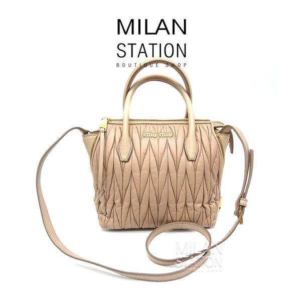 【台中米蘭站】MIUMIU 裸色 抓皺 可芙系列 兩用包