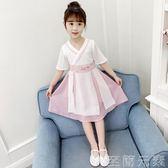 女童洋裝女童漢服襦裙雪紡夏裝小女孩復古裝中國風童裝超仙抖音洋裝 至簡元素