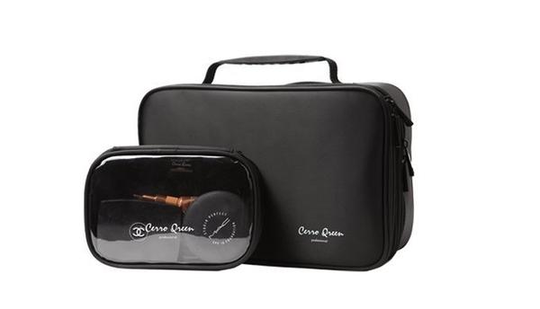 Cerro Qreen 黑色布面雙層手提式化妝箱 化妝包 彩妝化妝刷收納箱 新秘/彩妝師【愛來客】