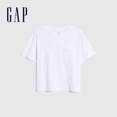 Gap女裝 碳素軟磨系列厚磅密織 基本款素色短袖T恤 735768-白色