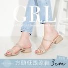 BONJOUR日本GRL方頭3cm細帶低跟涼鞋【ZGD-1244】(5色)