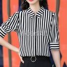 黑白條紋短袖襯衫女豎條紋職業氣質時尚洋氣2021夏季中袖襯衣雪紡 快速出貨