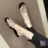 拖鞋 涼拖鞋女外穿夏季透明膠片低跟一字拖女涼拖鞋女2020新款網紅拖鞋