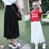 兒童半身裙夏季兒童女孩中大童小學生雪紡百褶長裙  XY1206  【男人與流行】