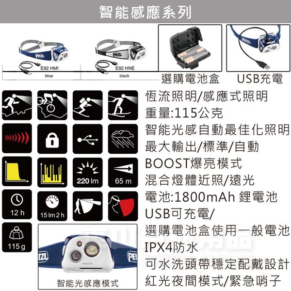 PETZL E92-HMI藍 Reactik超輕高亮度LED頭燈 220流明登山電子燈/緊急照明燈/地震防災包 東山戶外
