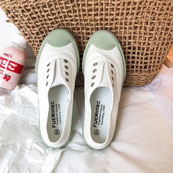 X-INGCHI 女款白色輕巧帆布懶人鞋-NO.X0221