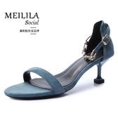 金屬一字帶涼鞋女夏季新款百搭露趾細跟中空時裝高跟鞋
