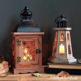 燭臺 歐式復古做舊鏤空風燈手提鐵藝玻璃燭臺庭院戶外古典浪漫創意擺件 潔思米