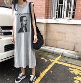 無袖洋裝 印花 寬袖口 寬鬆 簡約 無袖 洋裝 連身裙【MY860】 icoca  07/05