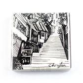 【收藏天地】台灣紀念品*陶瓷杯墊冰箱貼-印象九份