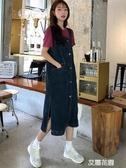洋氣減齡牛仔背帶裙女秋季2019新款韓版百搭純色寬鬆中長款連身裙『艾麗花園』