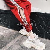 嘻哈褲  紫色運動褲子女ins學生韓版怪味少女九分德芙嘻哈倫褲 『歐韓流行館』