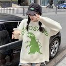 VK精品服飾 韓國風寬鬆恐龍針織衫慵懶風套頭長袖上衣
