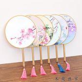 中國風古典精美雙面團扇演出絹布圓扇