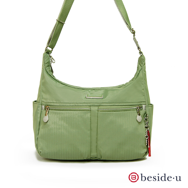 【BESIDE-U】ENDEAVORT知性流線 休閒雙口袋斜背包-蘆雅綠
