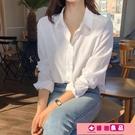 襯衫 白襯衫女長袖復古內搭打底疊穿上衣春秋氣質休閑韓版寬鬆垂感襯衣 源治良品