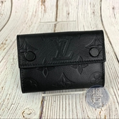 BRAND楓月 LOUIS VUITTON LV M67631 DISCOVERY 黑色 暗扣 三折 短夾 皮夾 皮包