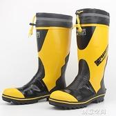 品質男式高筒鋼頭鐵頭防砸勞保工作鞋中長筒雨鞋雨靴水鞋三防雨鞋 創意新品