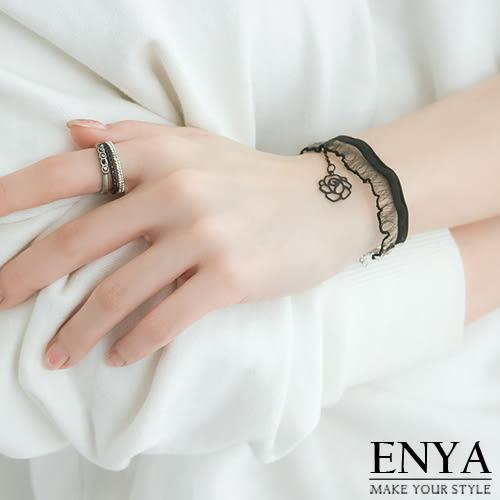 黑色玫瑰蕾絲手鍊 Enya恩雅(正韓飾品)【BRAW7】