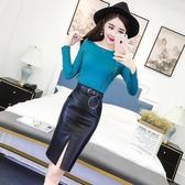 秋季新款韓版單排扣長袖針織衫 開叉包臀皮裙高腰半身裙套裝