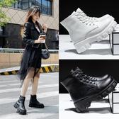 大尺碼女鞋34-43 2020經典時尚帥氣百搭繫帶圓頭厚底中跟馬丁靴 短靴子~2色