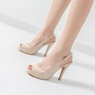 高跟凉鞋 細跟高跟涼鞋女裸色高跟鞋小清新漆皮防水臺魚嘴鞋4143大碼工作鞋