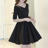 小禮服新款女裝春裝流行夏季黑色赫本風小黑蓬蓬連身裙子名媛小禮服 快速出貨