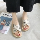 圓點平底拖鞋涼鞋 波點拖鞋女少女心2020夏季新款外穿編織平底拖涼鞋 聖誕鉅惠