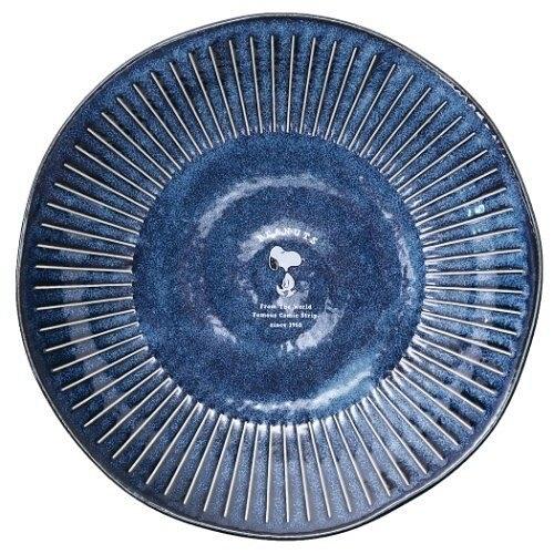 〔小禮堂〕史努比 日製陶瓷圓盤《深藍.走路》菜盤.點心盤.金正陶器 4964412-61413