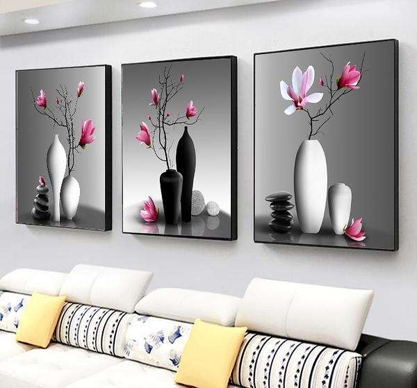 壁畫 現代客廳裝飾畫12mm布紋膜