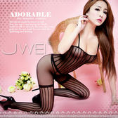 情趣用品 女性商品 開檔性感細肩帶平口連身衣貓裝造型直條紋絲襪-黑色