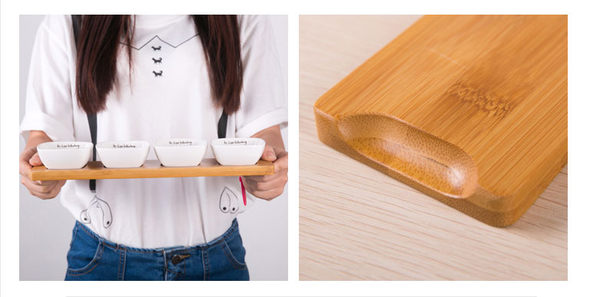 時尚可愛餐桌小碟 (四入+木托)