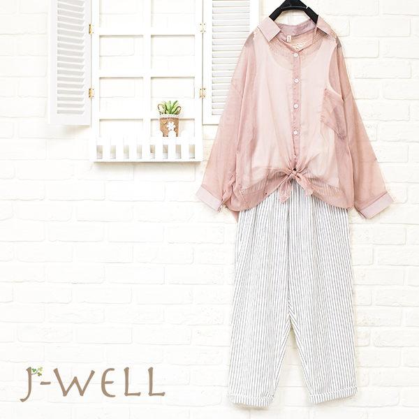 J-WELL 雪紡輕盈感短襯衫背心褲三件組(組合885 8J1491咖+8W1139白+8J1501白)