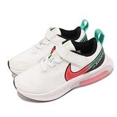 Nike 童鞋 Air Zoom Arcadia PSV 白 紅 氣墊 中童鞋 魔鬼氈 【ACS】 DA1245-101