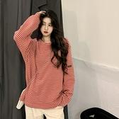 條紋長袖T恤女寬鬆韓版2021新款春季打底衫網紅百搭洋氣內搭上衣 設計師