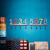 壁掛美式復古創意數字鑰匙掛鉤墻面裝飾品玄關掛衣鉤墻上門後掛飾壁掛【父親節禮物鉅惠】