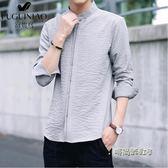 富貴鳥夏季休閒長袖牛仔襯衫男士韓版潮流商務七分袖襯正裝白襯衣「時尚彩虹屋」