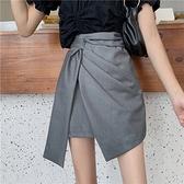 半身裙 夏季 復古不規則格子半身裙工裝高腰顯瘦a字短裙女-Ballet朵朵