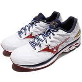 美津濃 Mizuno Wave Rider 20 白 藍 紅 慢跑鞋 運動鞋 基本款 男鞋【PUMP306】 J1GC170361